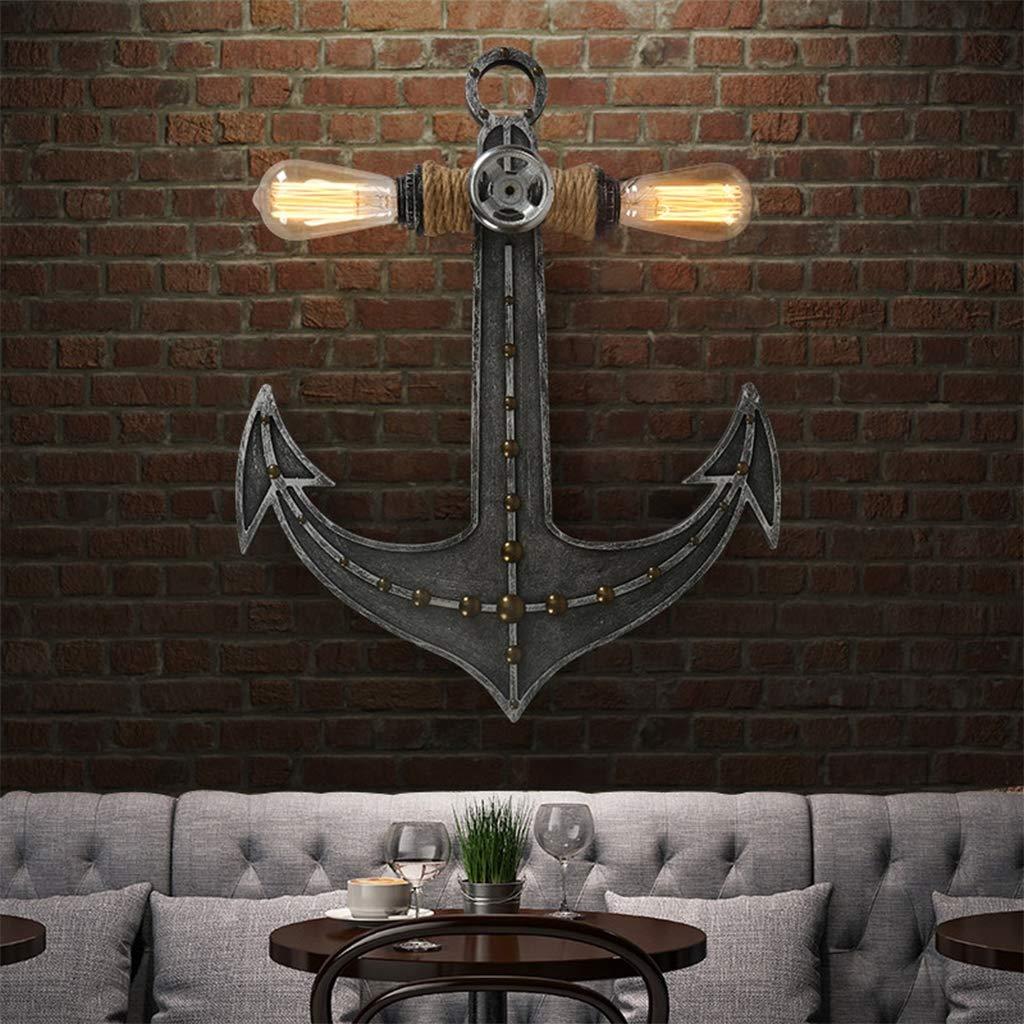 ZQH Retro Anker Wandleuchte Industriell Beleuchtung Kreativ Jahrgang Iron Art Wandlampe Innen Wandleuchten Bar Caf/é Restaurant Dachboden Gang Dekorativ Beleuchtung E27,55 42CM