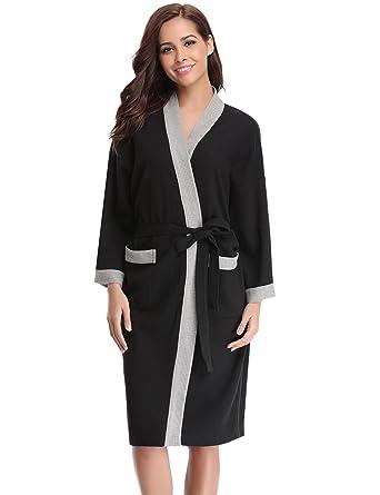 Aibrou Unisex Waffle Dressing Gown Cotton Lightweight Bath Robe ...