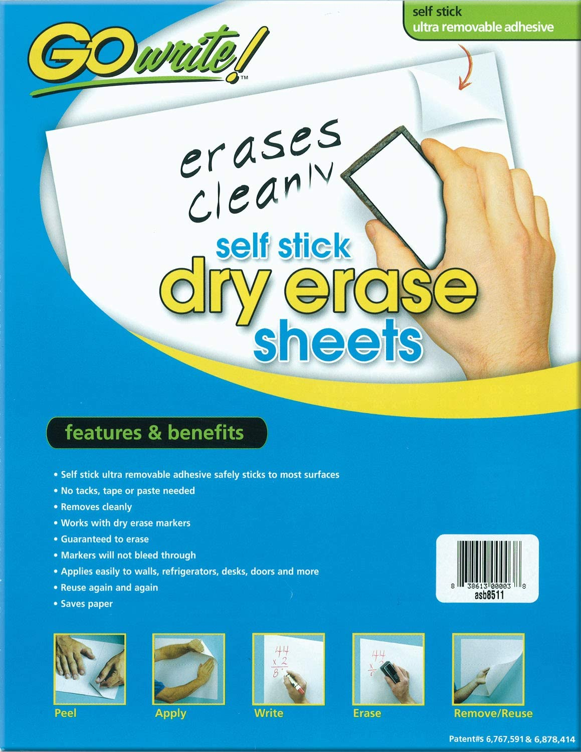"""GoWrite! PACASB8511 Self-Adhesive Dry Erase Sheets, White, 8-1/2"""" x 11"""", 30 Sheets: Industrial & Scientific"""