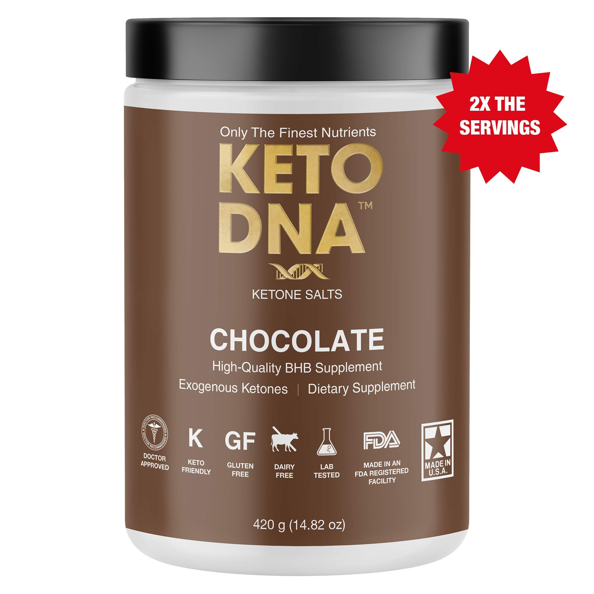 Keto DNA Chocolate Exogenous Ketone Supplement | 30 Servings - 420g | BHB Salts for Ketosis | Beta Hydroxybutyrate Ketones Powder | Perfect to Burn Fat and Increase Energy & Focus | Large