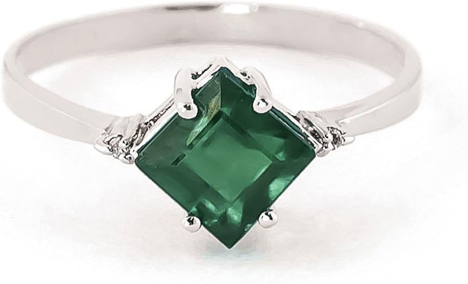Galaxy Gold 1.46 Carat 14k Solid Gold Love in A Frame Emerald Diamond Ring (9)
