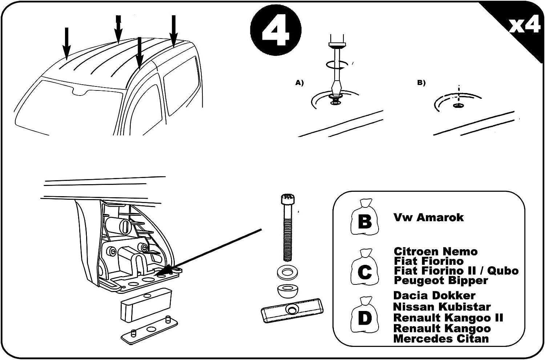 ab 2008 Aurilis Dachtr/äger Original kompatibel mit FIAT Fiorino 3-5 T/ürer