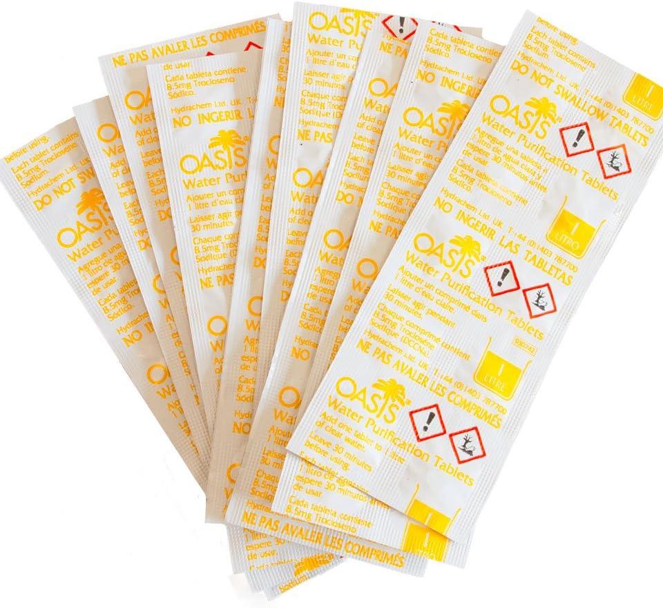Oasis 100 tabletas de purificación de Agua (10 Tiras Sueltas en una Bolsa de plástico): Amazon.es: Deportes y aire libre
