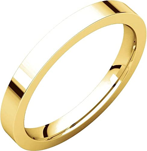 Flat Plain Wedding Band Mens and Womens 14k Yellow Gold 2.5mm Wide