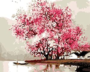 YEESAM ART Paint by Numbers for Adults Kids, Pink Cherry Blossoms Tree Lake Landscape 16x20 Inch Linen Canvas Acrylic DIY Number Painting Kits Wall Art Decor Gifts (Without Frame)