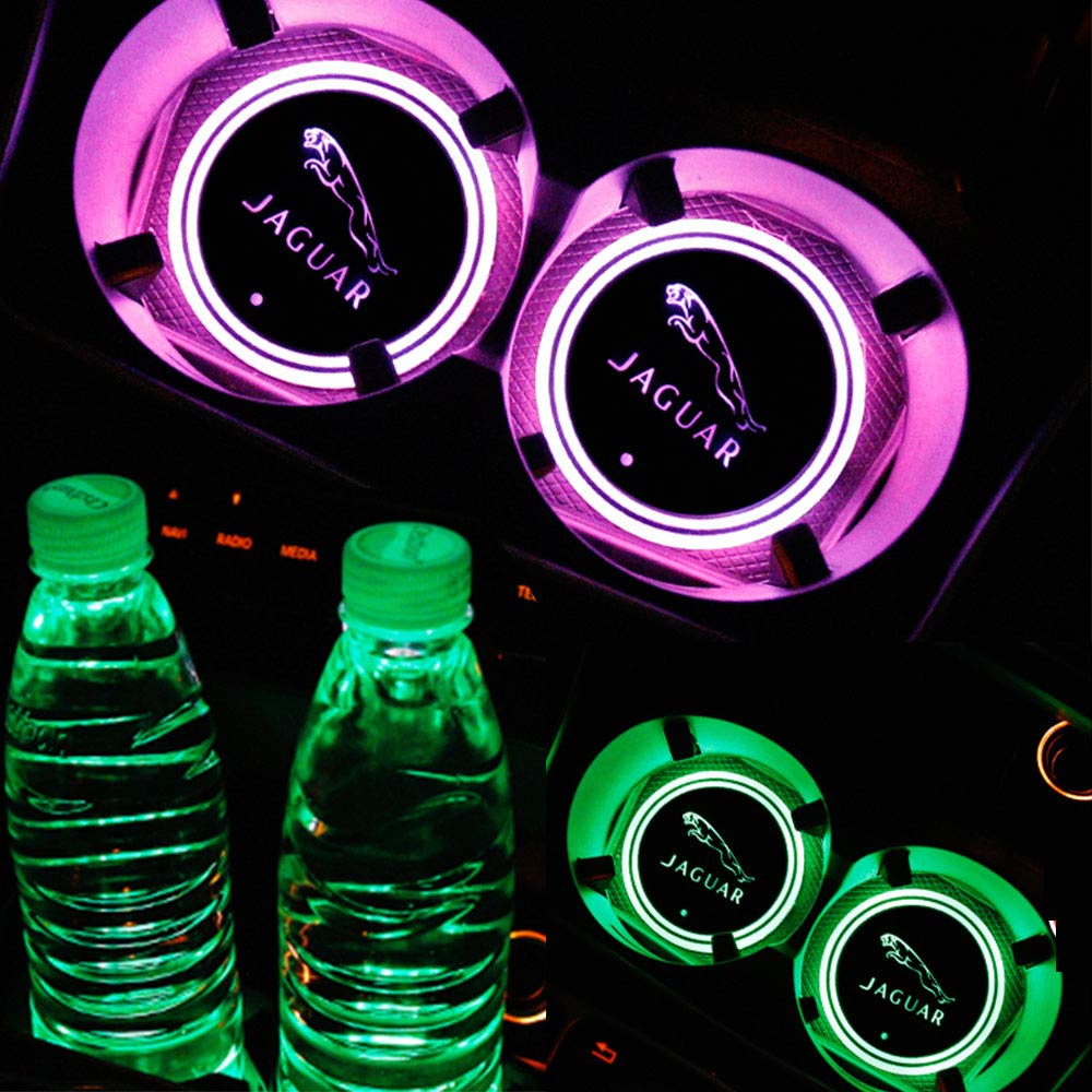 luluda LED Car Logo Cup Holder Pad Waterproof Bottle Drinks Coaster Built-in Light 7 Colors Changing USB Charging Mat LED Cup Mat Car Atmosphere Lamp 2PCS for Infiniti