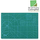 """Self Healing Rotary Cutting Mat with Grid 12 x 18"""" Odorless Durable Warp-Proof Non Slip Double Sided Rotating Cutting Mats for Scrapbooking Quilting Sewing and all Arts & Crafts Projects"""