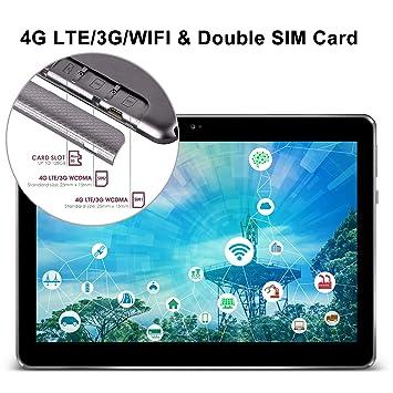 Tablet 10 Pulgadas,4G Dual SIM 64GB de Memoria 3GB de RAM Android 8.1 Cámara de 8MP OTG/WiFi Tablets Teclado (64GB-Gris)