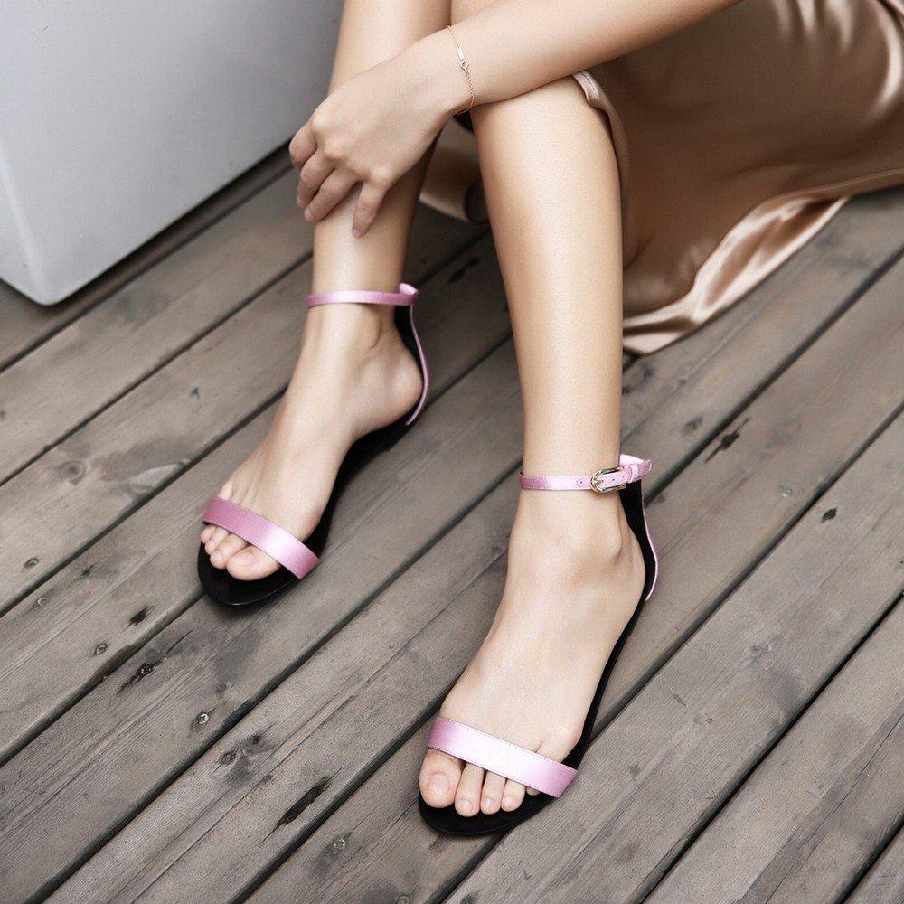 DIDIDD Sommer Sandalen Runde Wort Flache Ferse Schuhe Word Button Button Button Einfache Schuhe EIN 37.5 53c61d