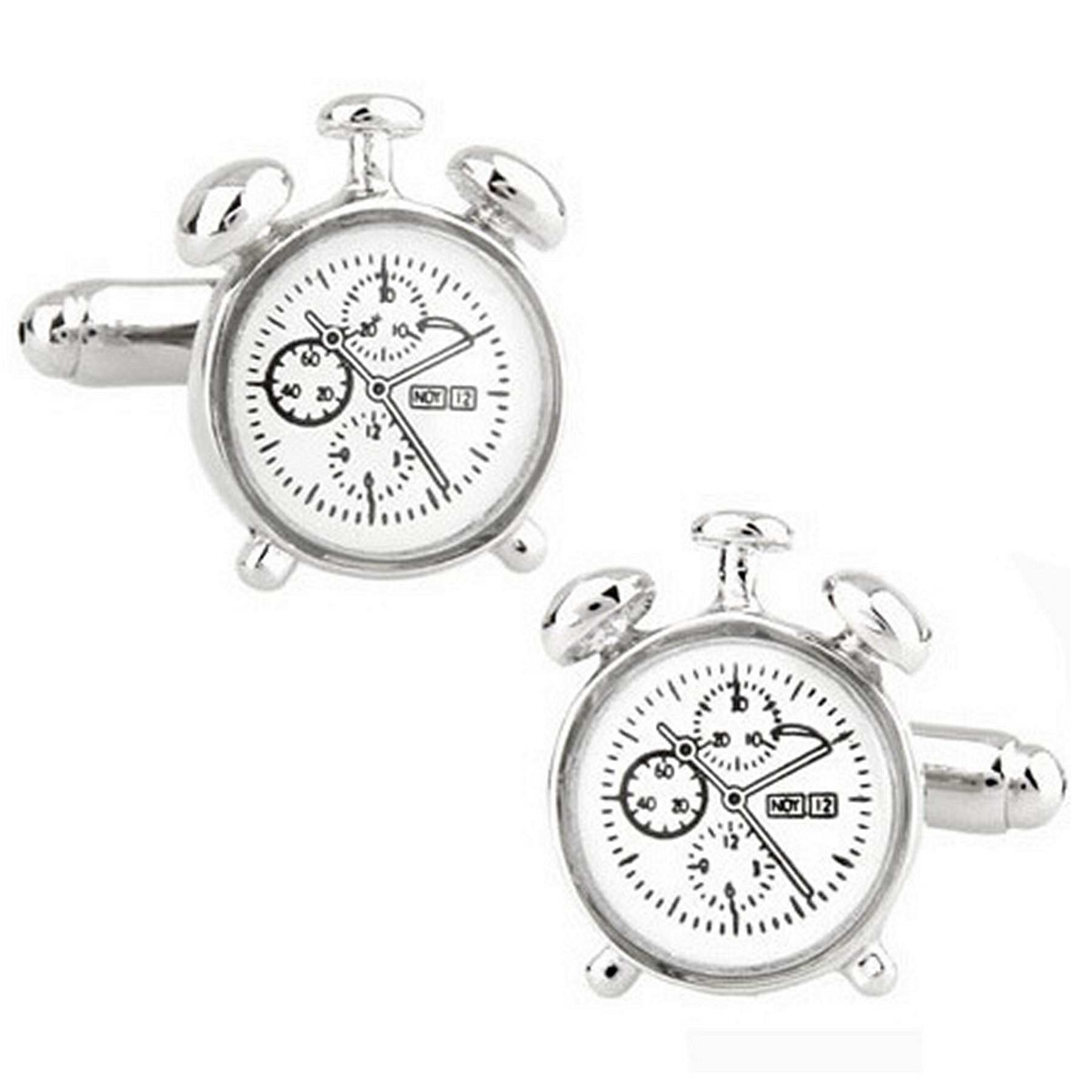 RXBC2011 Men's Alarm Clock French Shirts Cufflinks 1 Pair Set