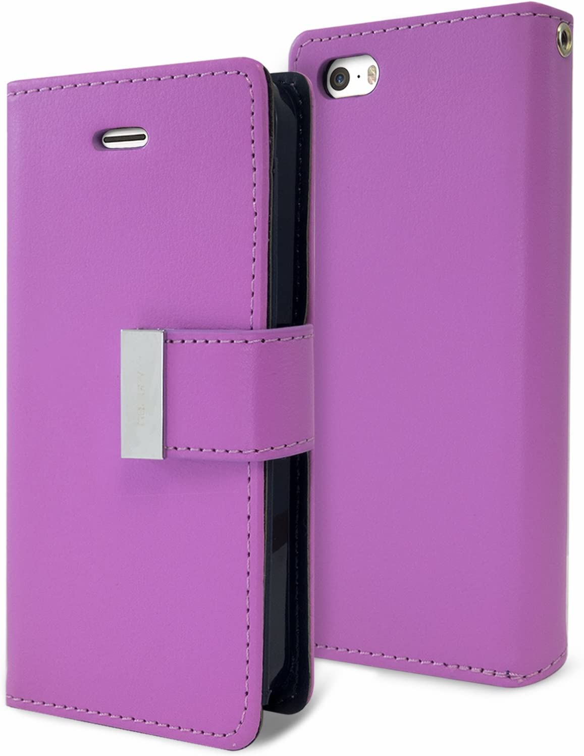 Goospery Rich Wallet for Apple iPhone SE Case (2016) iPhone 5S Case (2013) iPhone 5 Case (2012) Extra Card Slots Leather Flip Cover (Purple) IP5-RIC-PPL