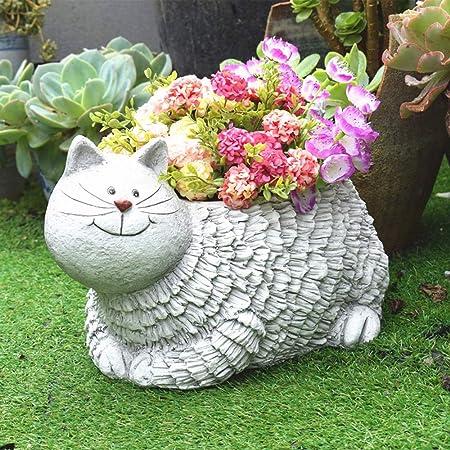 DorisAA-Garden Decoraciones al Aire Libre Ornamento del Arte Balcón Jardín suculento de Lindo Gato aérea Tiesto Patio Jardín Decoración Escultura para el jardín (Color : Blanco, tamaño : B): Amazon.es: Hogar