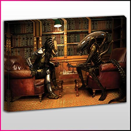 M102 Alien Vs Predator Chess Framed Ready To Hang Canvas Print TV And Movies
