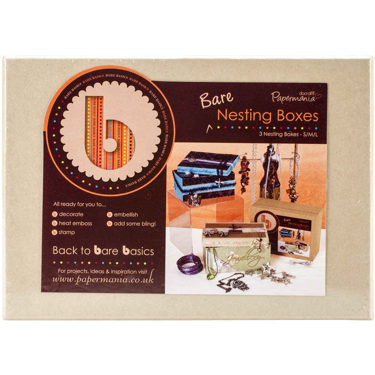 Papermania Bare Basics Nesting Boxes 3/Pkg-Rectangle