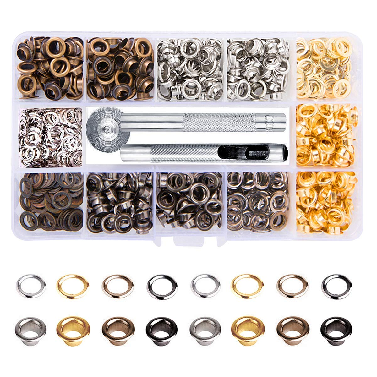 Meikeer 1/4 inch Grommet Kit 400 Sets Grommets Eyelets with 3 Pieces Install Tool Kit (4 Colors) by Meikeer