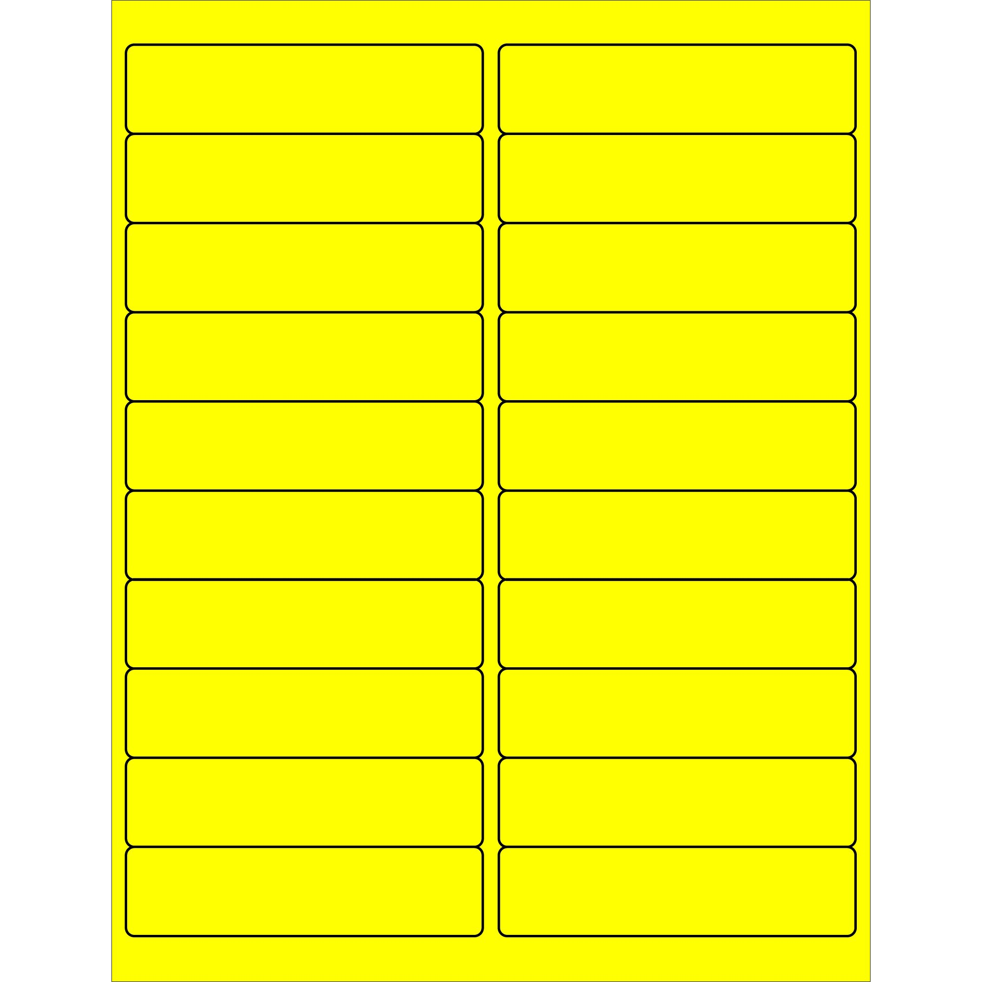 Tape Logic TLLL177YE Rectangle Laser Labels 4 x 1 Fluorescent Yellow (Pack of 2000)