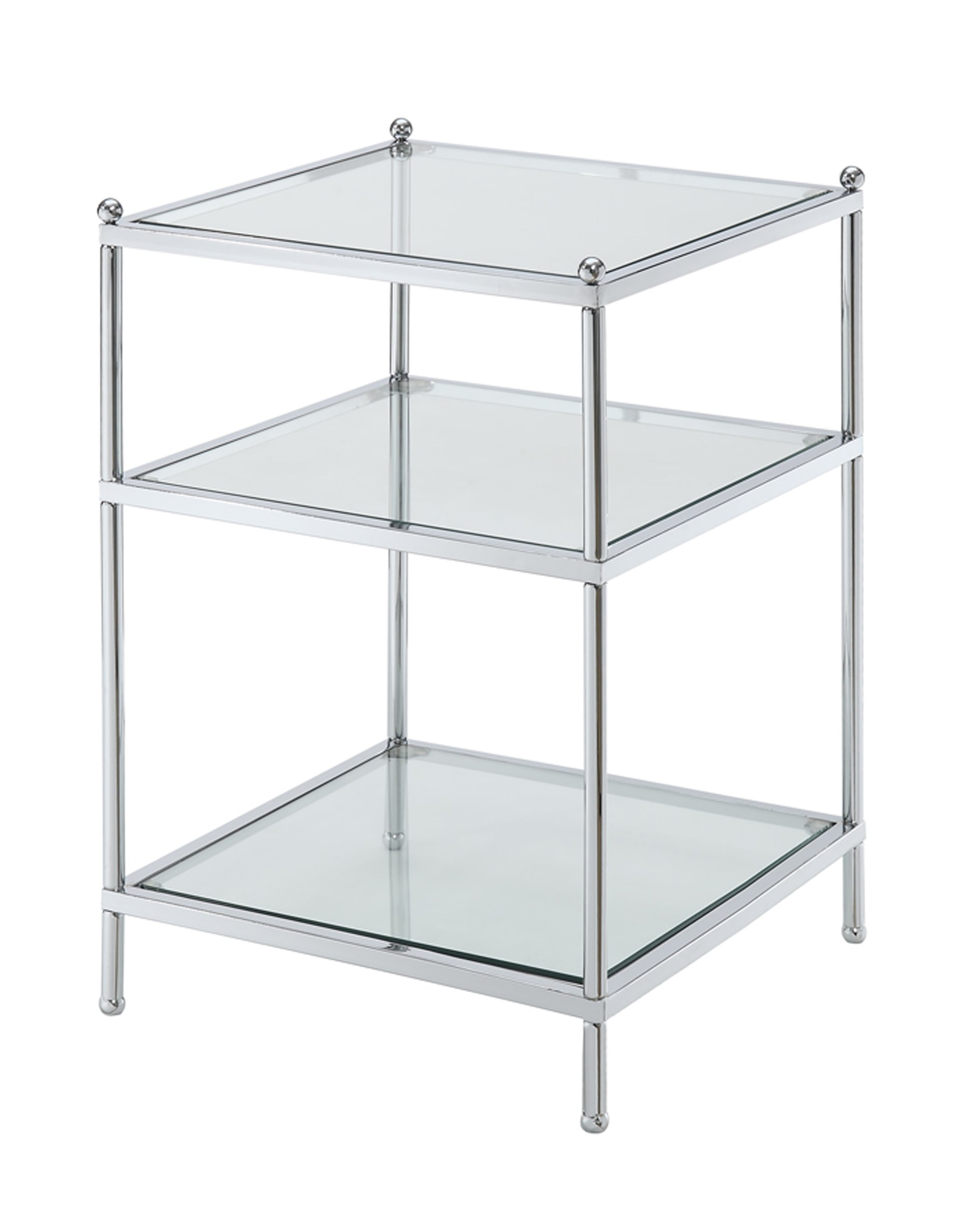 Convenience Concepts Royal Crest Collection End Table, Chrome/Glass