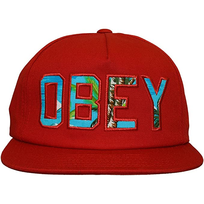 34b95161be2 Amazon.com  Obey Wharf Red Island LogoBaseball Cap Men s Hat  Clothing