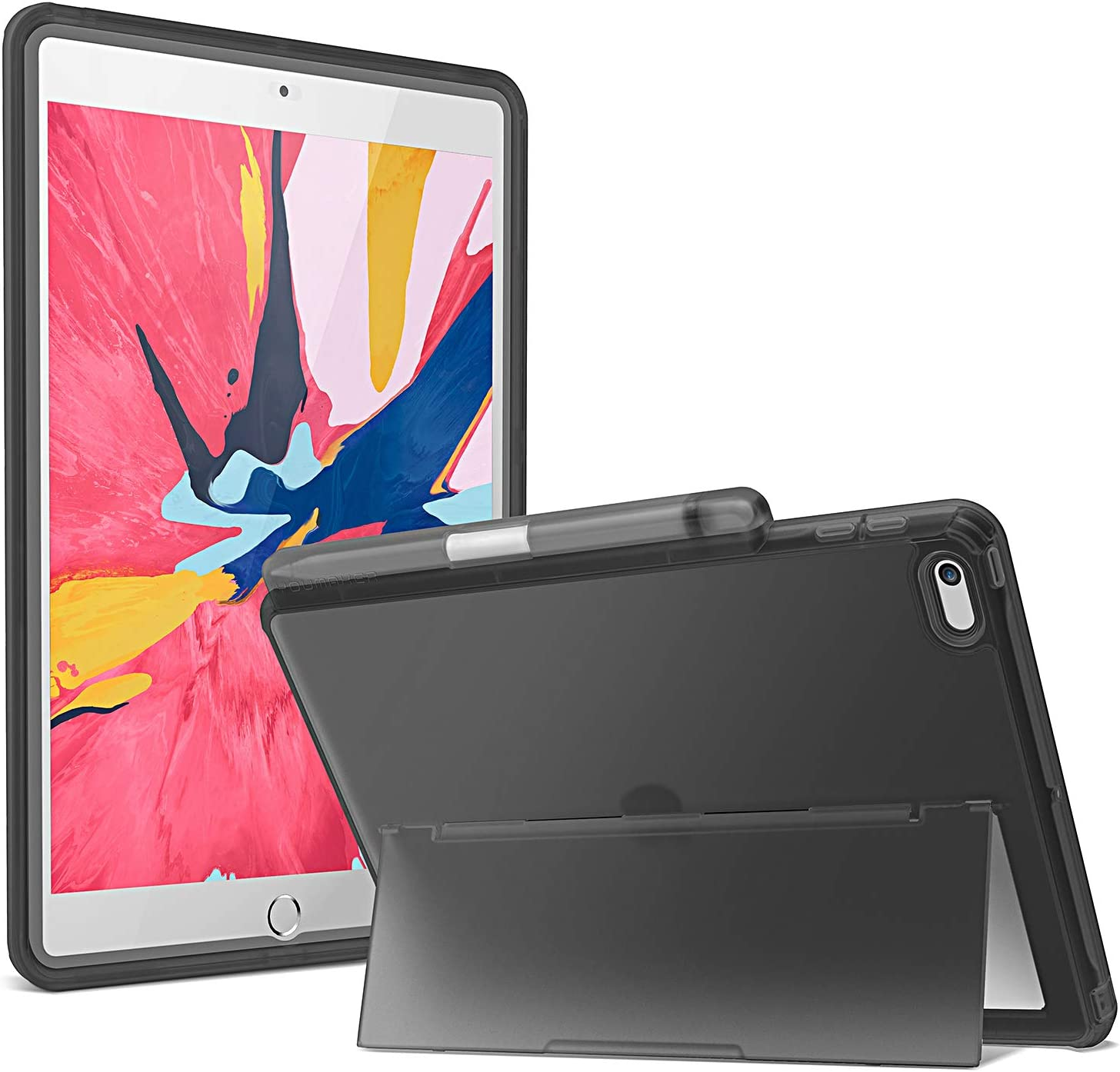 YOUMAKER Designed for iPad 10.2 Case 2019, Frosted Clear Kickstand Case with Built-in Screen Protector Full Body Rugged Protective Cover for iPad 7th Generation 10.2 Inch - Black