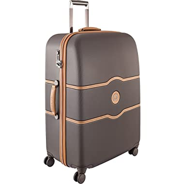DELSEY Paris Luggage Chatelet Hard+ Large Checked Spinner Suitcase Hardcase with Lock, Chocolate Brown