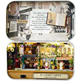 MAGQOO 3D Wooden Dollhouse Miniature DIY Doll House Kit with Furniture,1:24 DIY Box Theater Kit (Happy Corner)