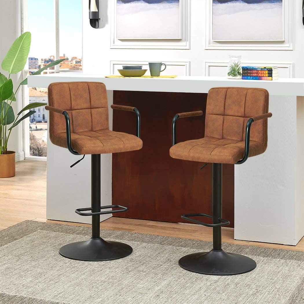Duhome Elegant Lifestyle Breakfast Swivel Bar Stools, Square Swivel Adjustable Height Bar Stools with Backs and Arms,Set of 2,Modern Bar Chairs Tech Fabric Yellow Brown