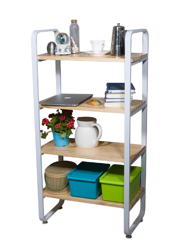 VILAVITA 4-Tier Wood Shelf Bookcases Heavy Duty Shelving Unit Utility Shelves, Multi-Functional Wooden Book Shelf Display Shelf