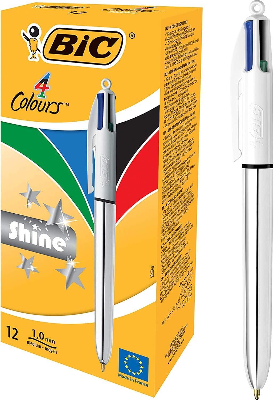 BIC 4 colores Shine bolígrafos Retráctiles punta media (1,0 mm ...