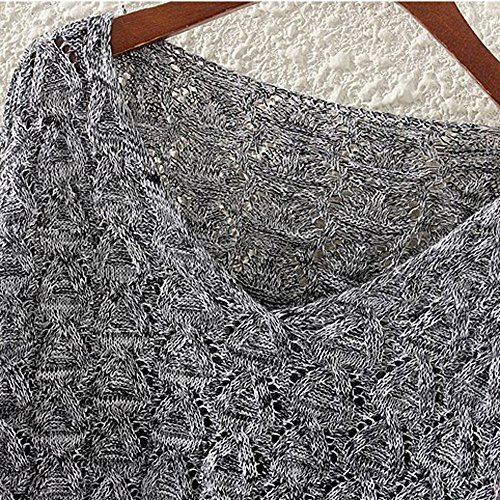 Women's Sweater, Women's Hollow Out Bat Long Sleeve Loose V Collar Sweater (Dark Gray, Free) by SOUND JUNKU (Image #2)