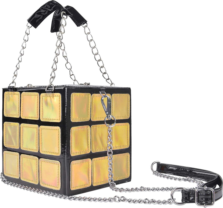 QZUnique Women's Cute Cube Shape Handbag Magic Shoulder Bag Clutch Bag With Super Long Shoulder Strap