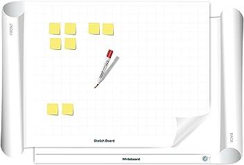 Vi-Board Sketch Board/Whiteboard: beidseitig beschreib- & abwischbares mobiles Whiteboard, einroll- & wiederverwendbar, Vorderseite: Karo Rasterung, Rückseite: Whiteboard, Größe: ca. 85 x 118 cm