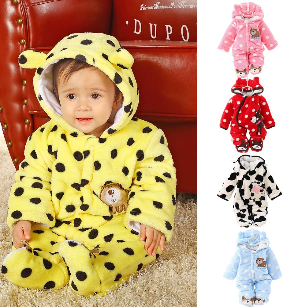 redcolourful Boys Girls Baby Long-Sleeved Thicken Hooded Soft Cotton Romper Cute Cartoon Jumpsuits Yellow 66cm 6M Cloth