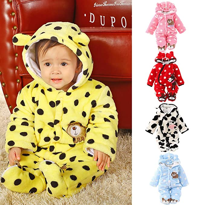 redcolourful Boys Girls Baby Long-Sleeved Thicken Hooded Soft Cotton Romper Cute Cartoon Jumpsuits White 59cm 3M Cloth