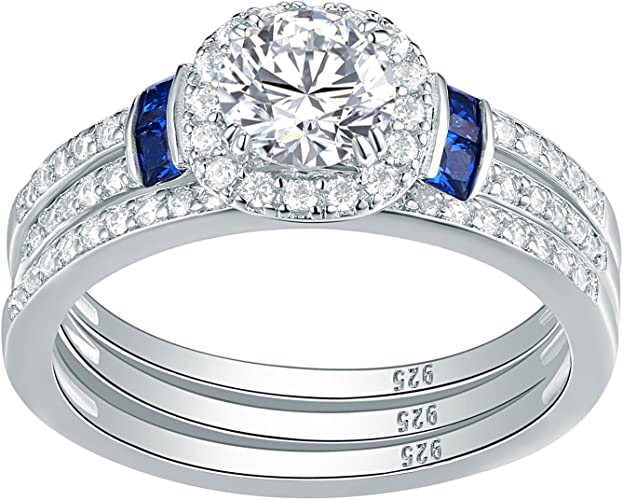 1.5ct Halo AAA CZ 925 Sterling Silver Engagement Wedding Ring Set Size 5-10