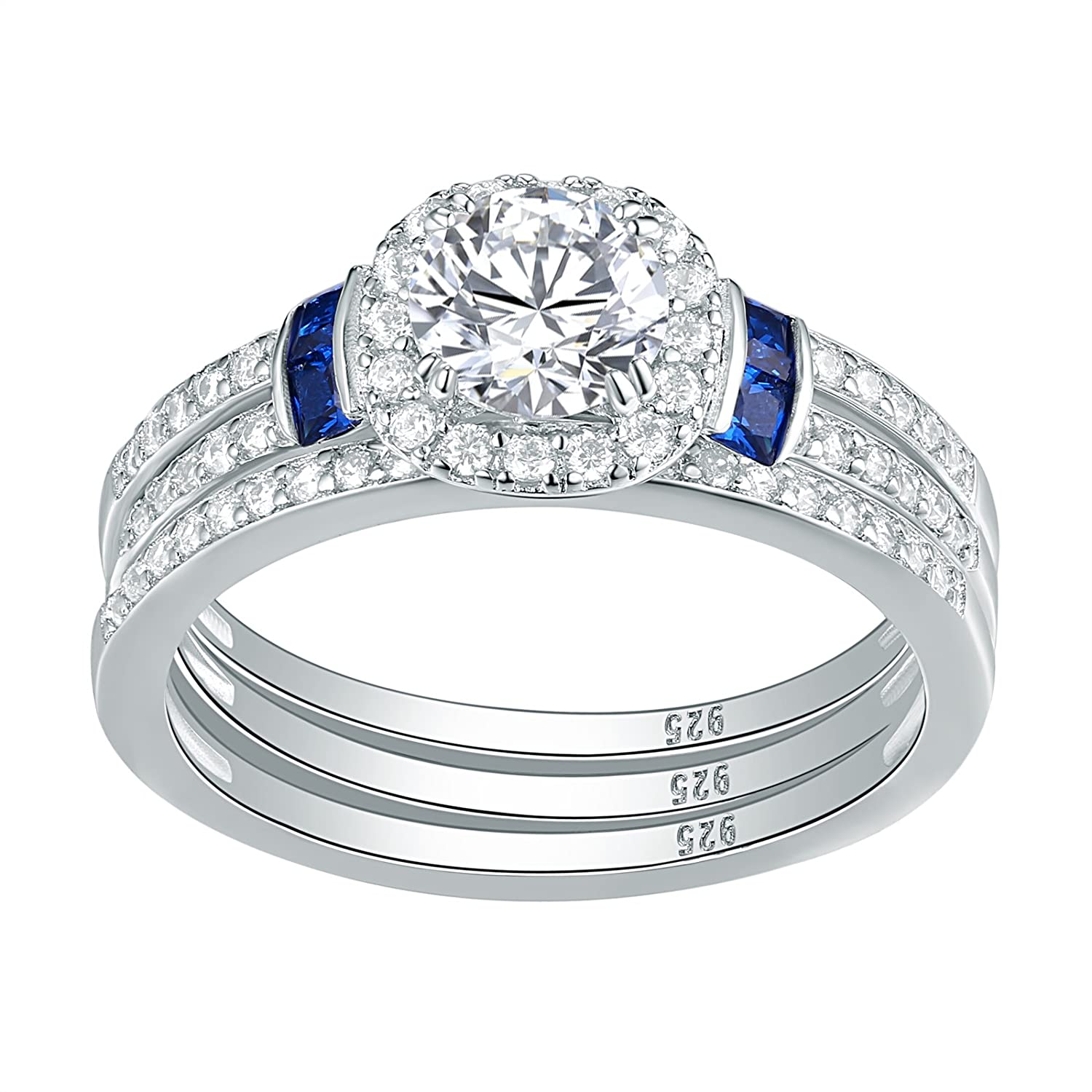Newshe 3pcs Created Blue Sapphire AAA Cz 925 Sterling Silver Engagement Wedding Ring Set Size 5-10 Newshe Jewellery QR104434_SS
