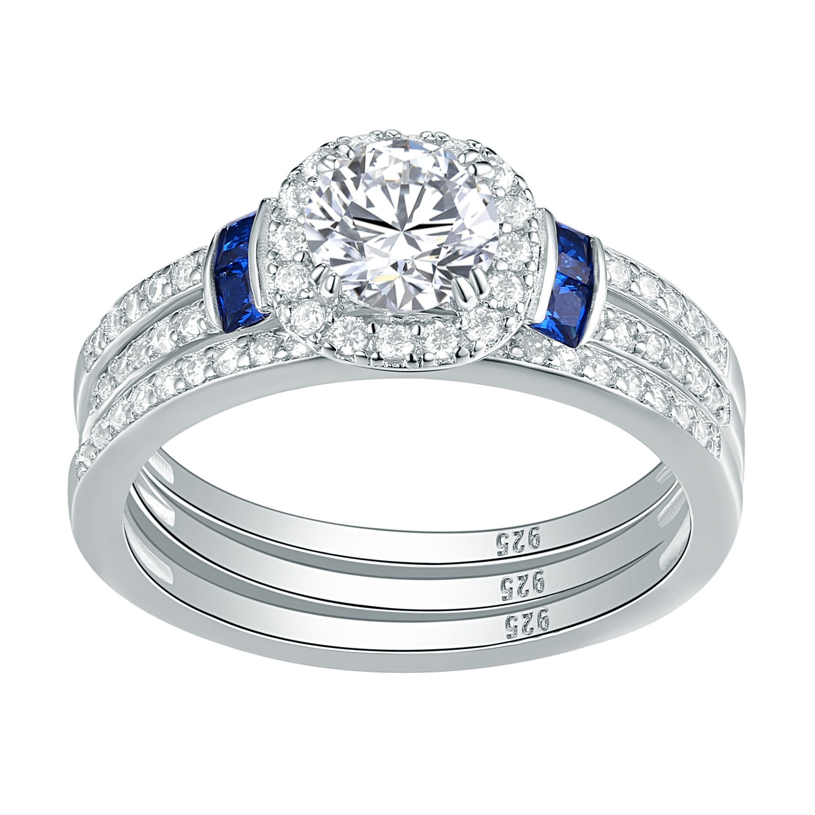 Newshe 3pcs Created Blue Sapphire AAA Cz 925 Sterling Silver Engagement Wedding Ring Set Size 10