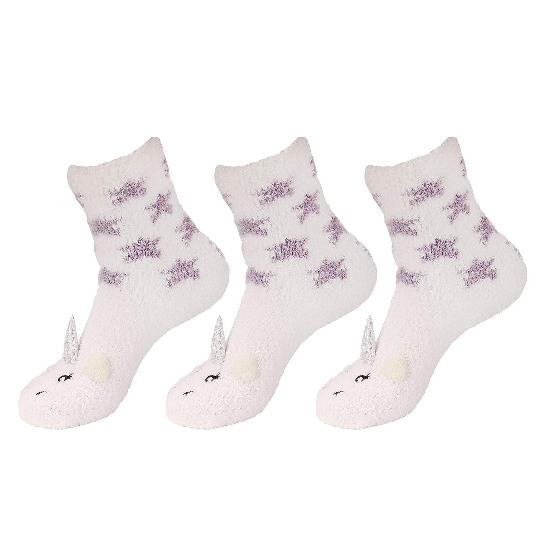 Womens Super Soft Warm Microfiber Fuzzy Cozy Unicorn Series Crew Socks