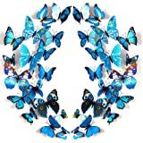 JYPHM 24PCS Butterfly Wall Decal Removable Refrigerator Magnets Mural Stickers 3D Wall Stickers for Kids Home Room…