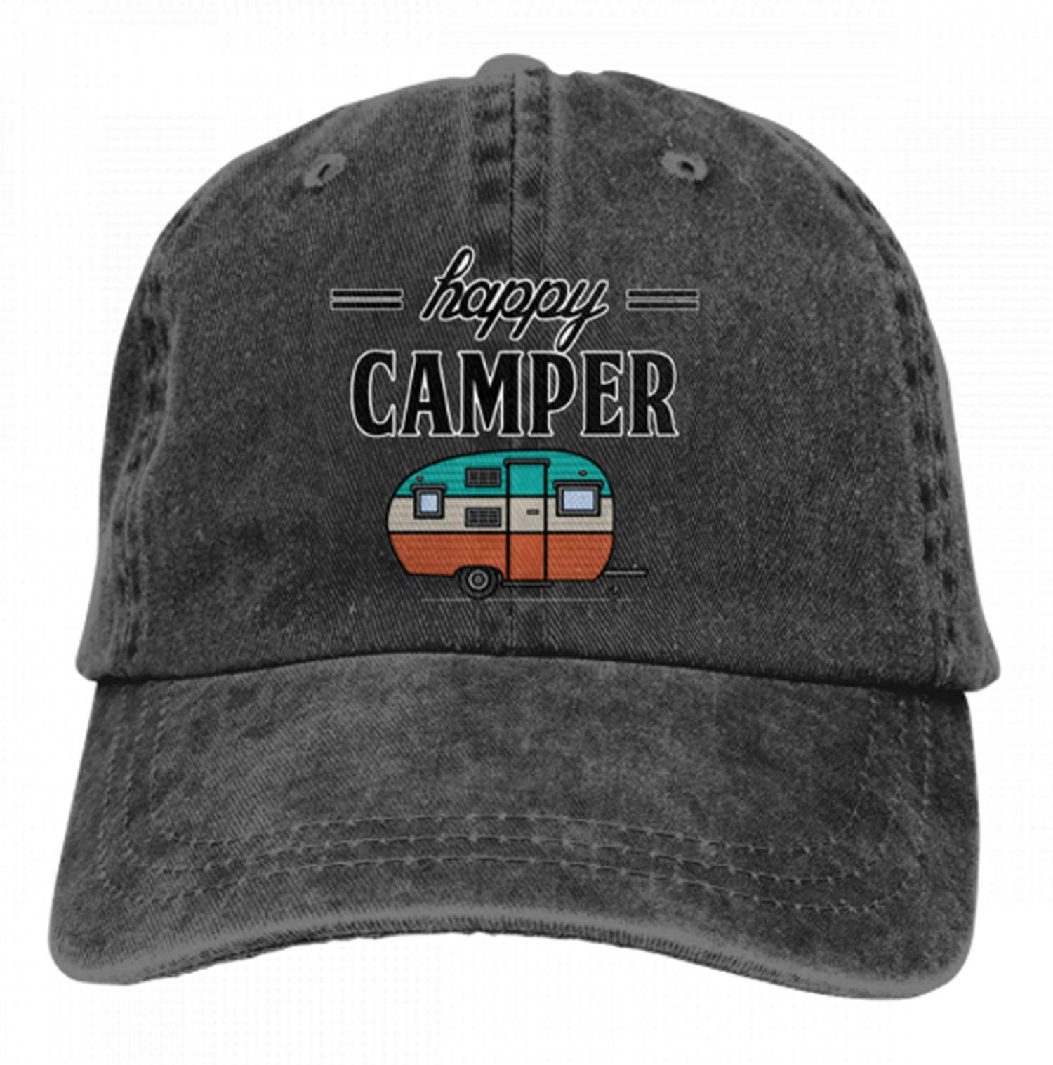 Adults Happy Camper Denim Caps Hiking Baseball Caps Camping Unconstructed Hats