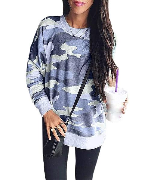 Freestyle Primavera y Otoño Mujeres Sudaderas Joven Moda Cuello Redondo Manga Larga Camisetas Sweatshirt Jumpers Jerséis Casual Impresion T-Shirt Tops ...