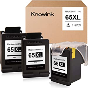 KWOWINK Remanufactured Ink Cartridge Replacement for HP 65XL 65 ECO-Saver for Deskjet 3755 3752 2655 2652 2622 3758 2624 3720 3722 Envy 5055 5052 5010 5020 5030 (1 Print Head+ 3 Cartridges, 3 Black)