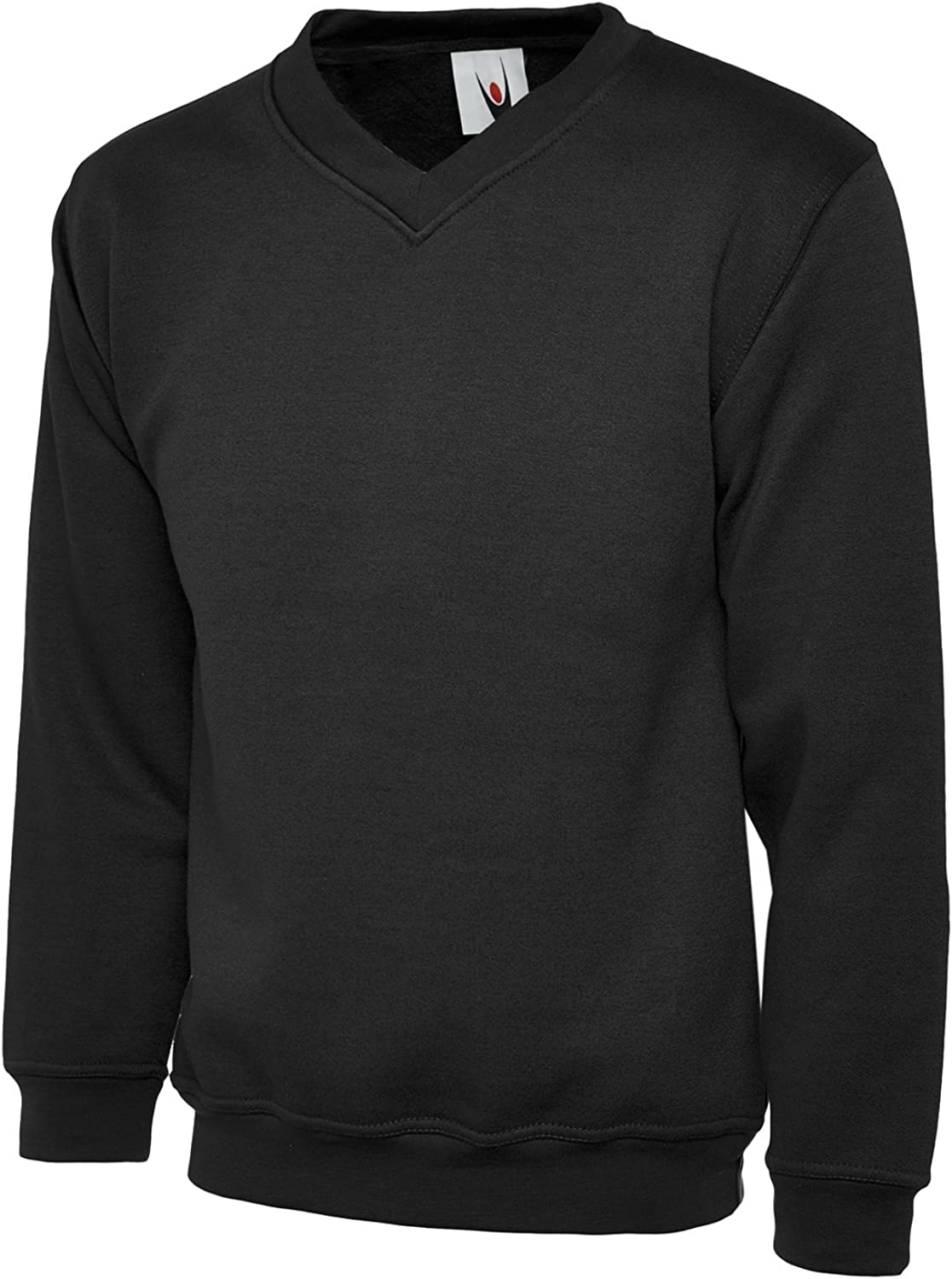 Uneek Clothing Mens Plain Premium V-Neck Sweatshirt XXX-Large Black