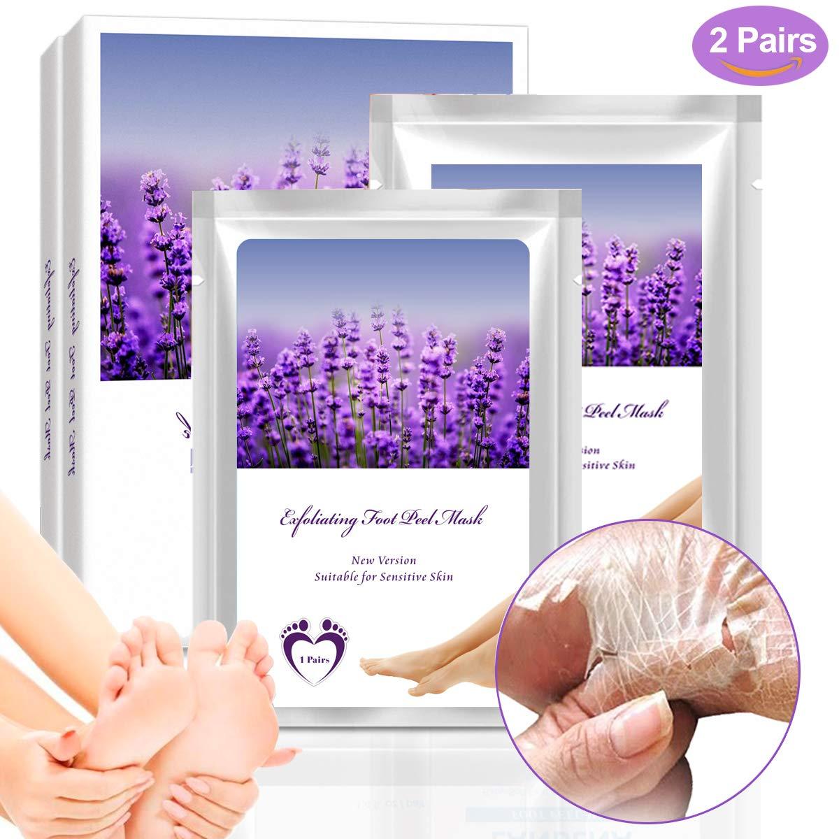 Fuß Peeling Maske Lavendel Fußmaske Hornhaut für Abziehung der Hornschwiele und Toter Haut-Zellen in 7 Tagen,Fußpflege mit 2 Paar Peeling Feuchtigkeitsspendende Socken UUCOLOR HZP10008QA