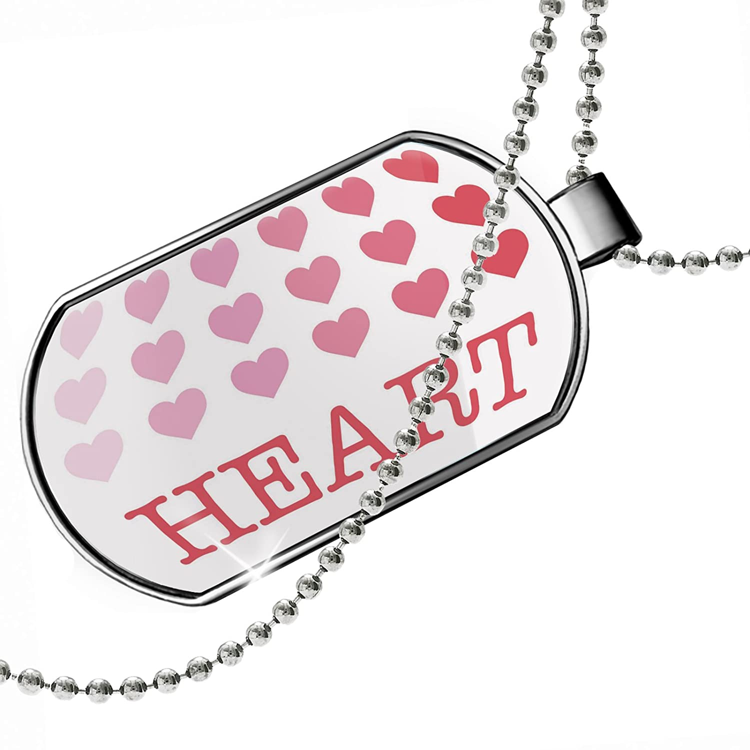 NEONBLOND Personalized Name Engraved Heart Valentines Day Gradient Hearts Dogtag Necklace