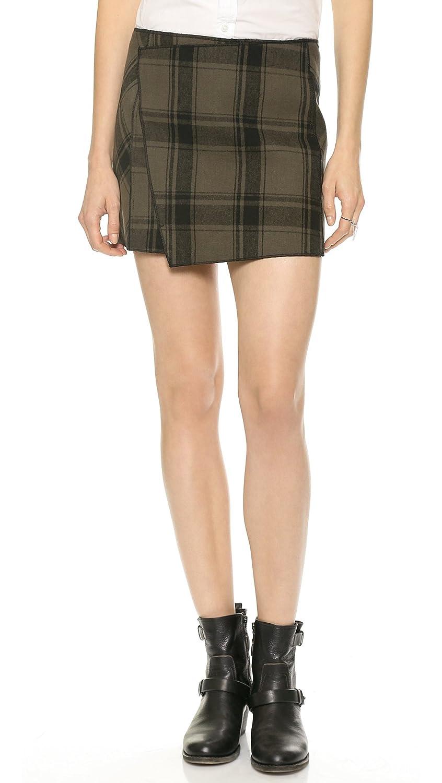 Free People Mid Rise Plaid Skirt 8 Black/Taupe F826R604