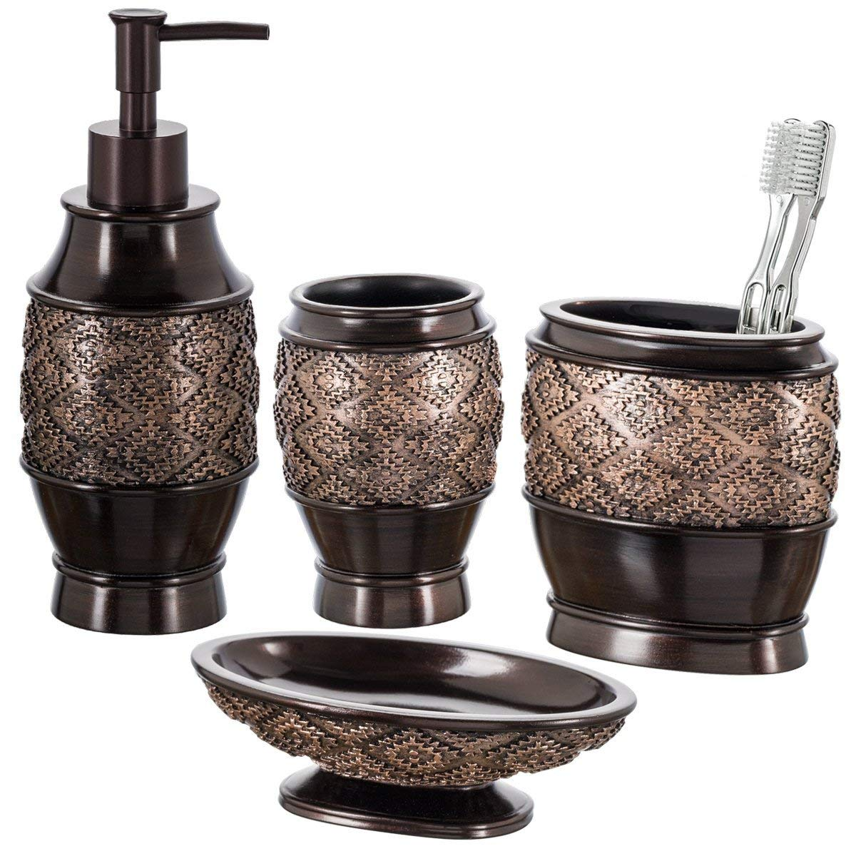 Dublin 6-Piece Bathroom Accessories Set, Includes Decorative Countertop Soap Dispenser, Soap Dish, Tumbler, Toothbrush Holder, Tissue Box Cover and Toilet Bowl Brush (Brown) by Creative Scents (Image #3)