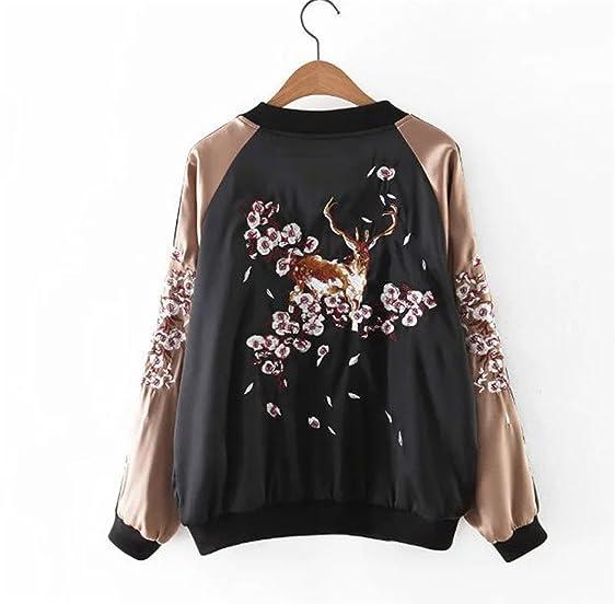 Havadi Coats New Fashion Deer Floral Souvenir Jacket Women Patchwork Baseball Coat Zipper Jacket Casaco Chaquetas