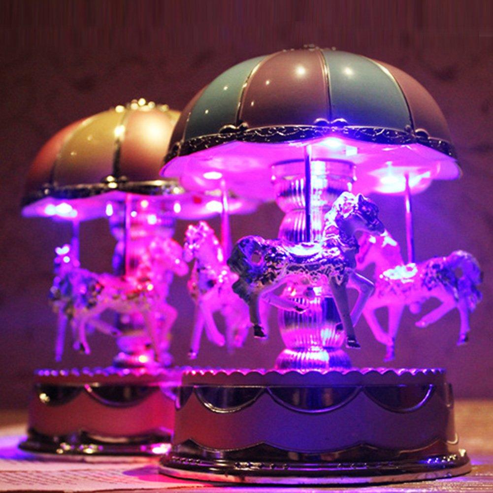 Merveilleux Merry-Go-Round Box rotatif avec LED Lumineux Flash Light Art Chambre de b/éb/é lampe pour anniversaire Cadeau de No/ël Gezichta Carrousel Bo/îte /à musique