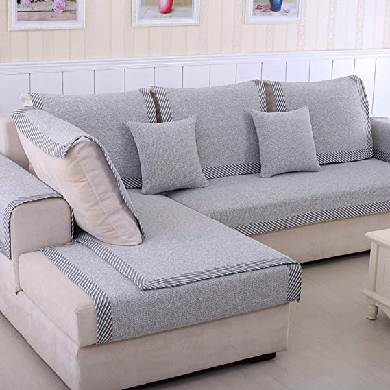 Zzy Protector de Muebles Sofa para Mascota o Perro de sofá Cubre Funda de Tiro sofá seccional sólido de Temporada Todos Color Espesar algodón y Lino sofá ...