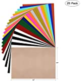 "HTV Heat Transfer Vinyl Bundle: 25 Pack Assorted Colors 12""x10"" Sheets, Iron On Vinyl for Cricut & Silhouette Cameo, BONUS Teflon for Heat Press Machine or Home Iron On DIY T-Shirts & Fabrics"